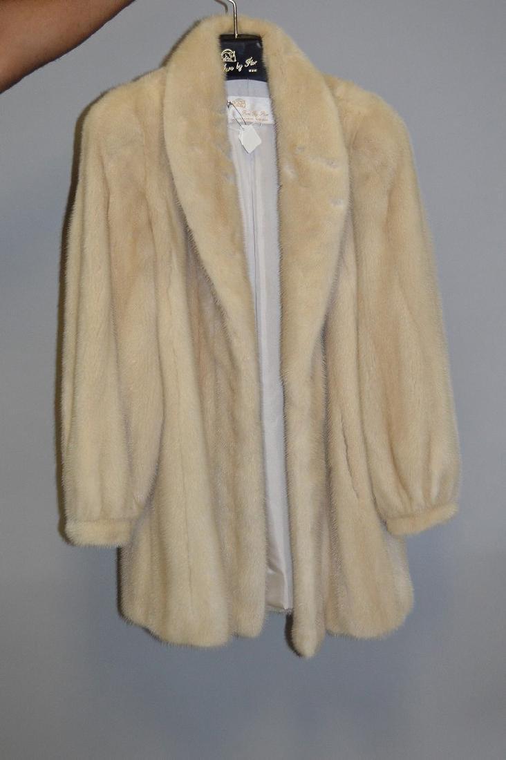 """Blonde mink three-quarter jacket, 37"""" collar to bottom,"""