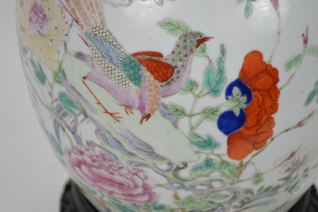 Chinese ginger jar with lid, multi color bird & - 2