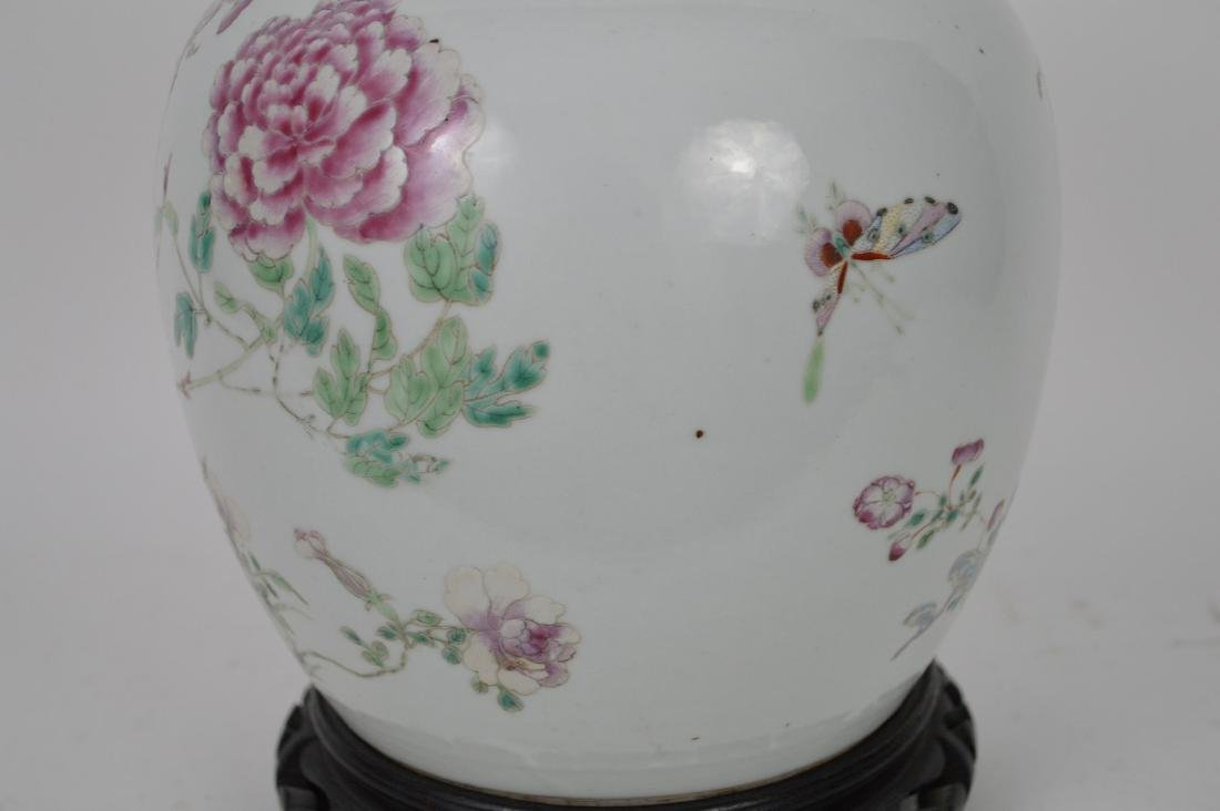 Chinese ginger jar with lid, multi color bird & - 3