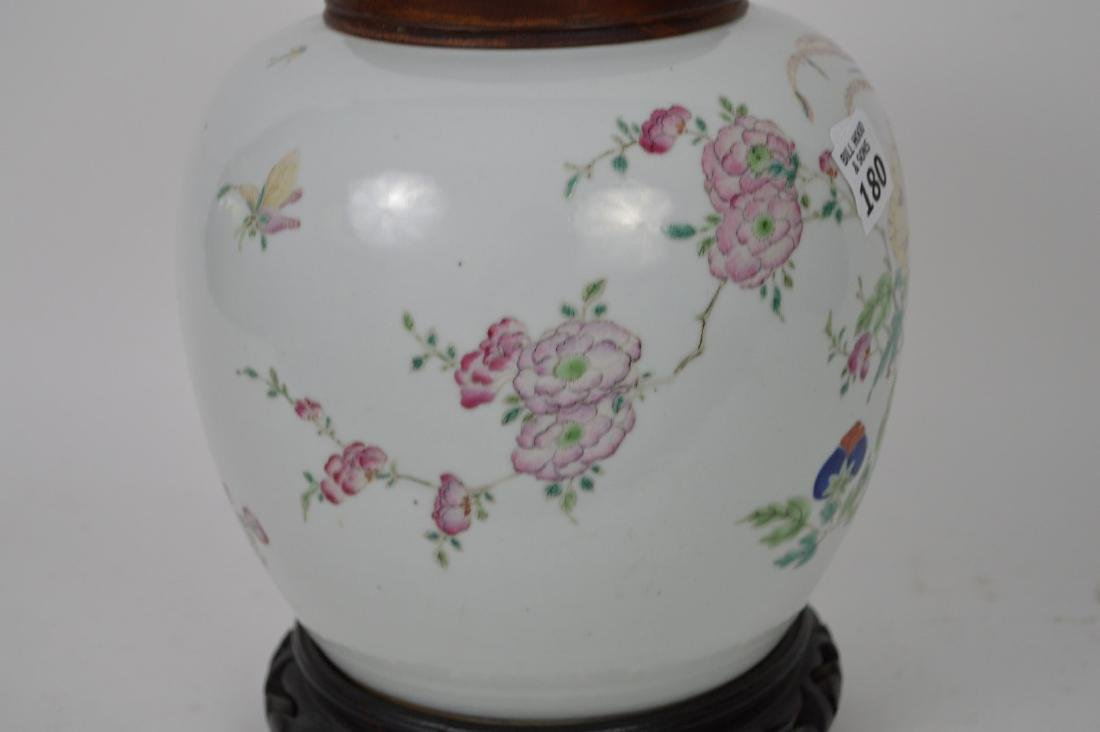 Chinese ginger jar with lid, multi color bird & - 5