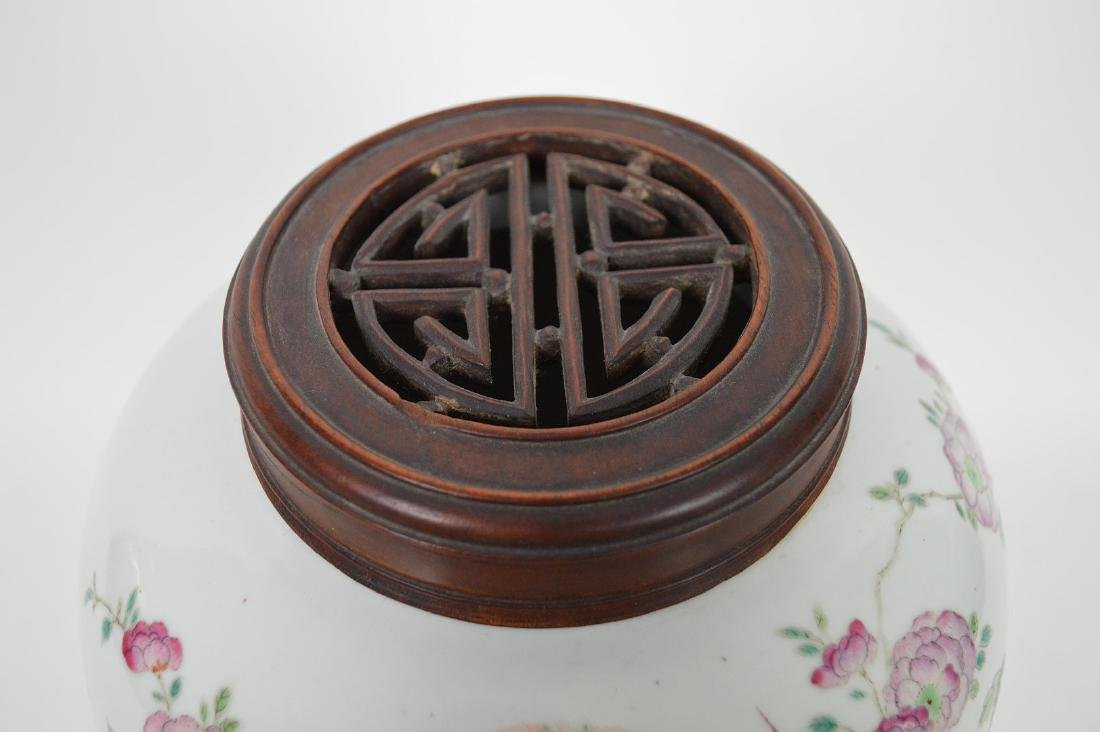 Chinese ginger jar with lid, multi color bird & - 7