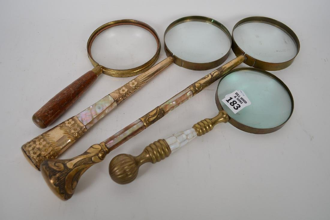 4 assorted vintage magnifying glasses, 3 with mother of