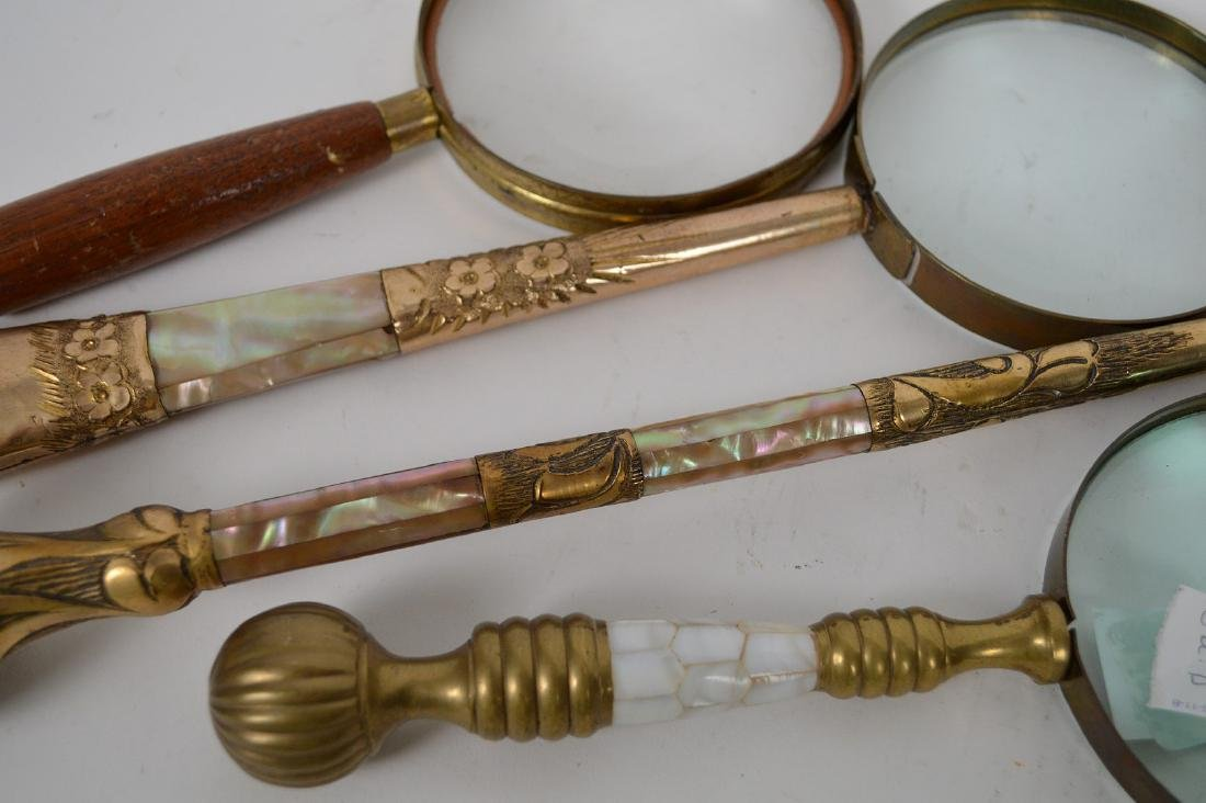 4 assorted vintage magnifying glasses, 3 with mother of - 5