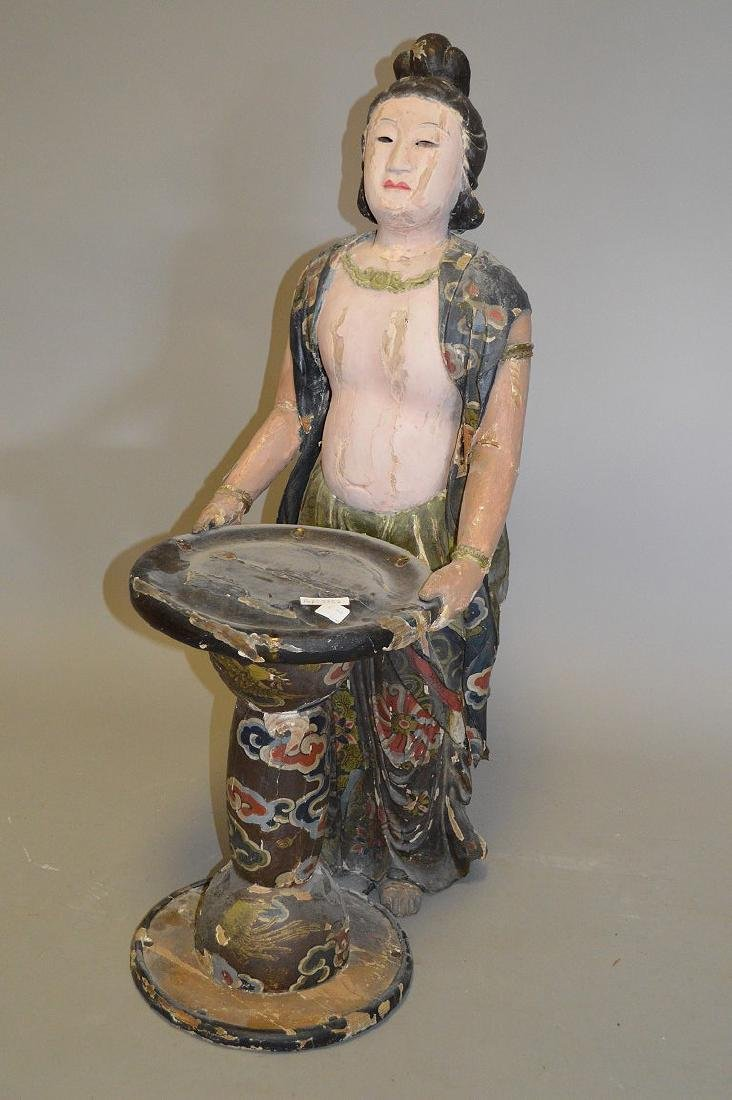 Chinese Carved Wood 19th Century . Polychromed and