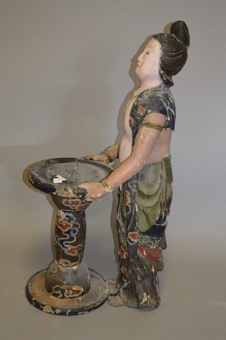 Chinese Carved Wood 19th Century . Polychromed and - 5