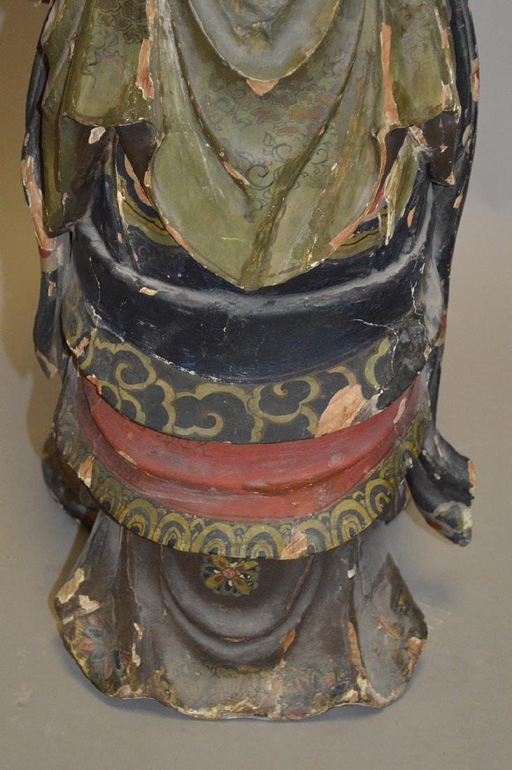 Chinese Carved Wood 19th Century . Polychromed and - 8