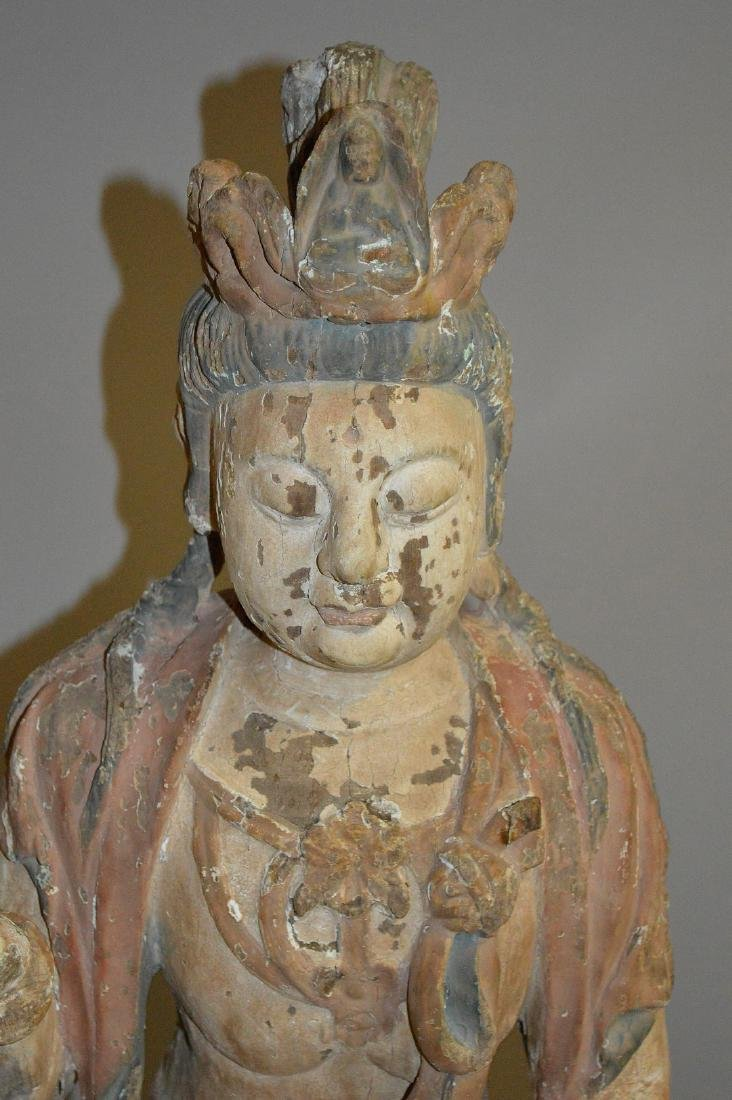18th Century Chinese carved seated buddha on coiling - 4