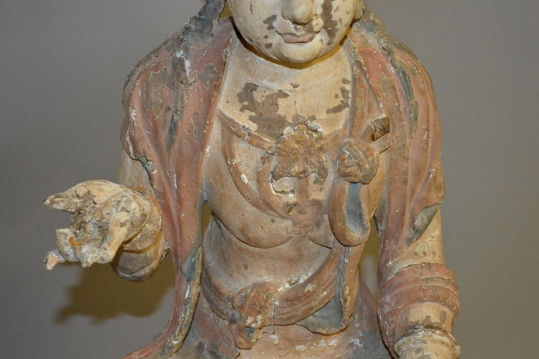 18th Century Chinese carved seated buddha on coiling - 5