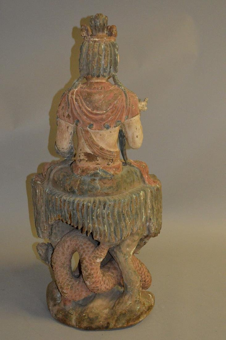 18th Century Chinese carved seated buddha on coiling - 6