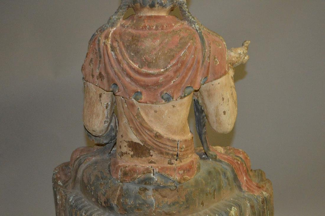 18th Century Chinese carved seated buddha on coiling - 8