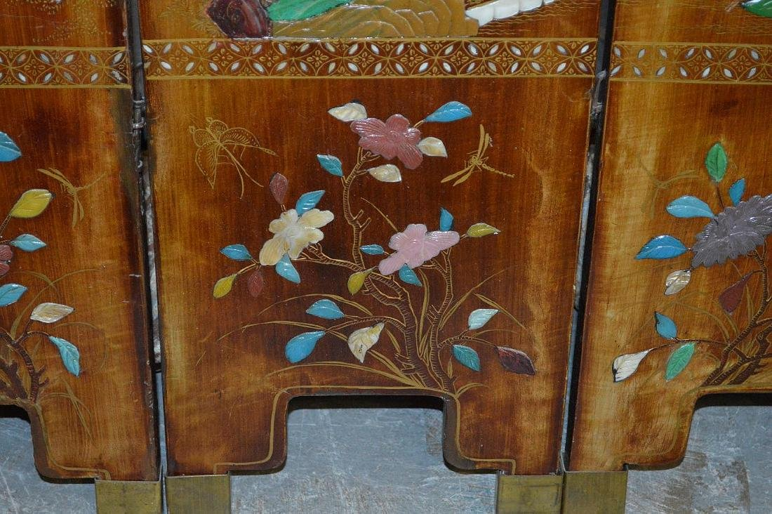 6 panel screen, coromandel style, red lacquer on - 6