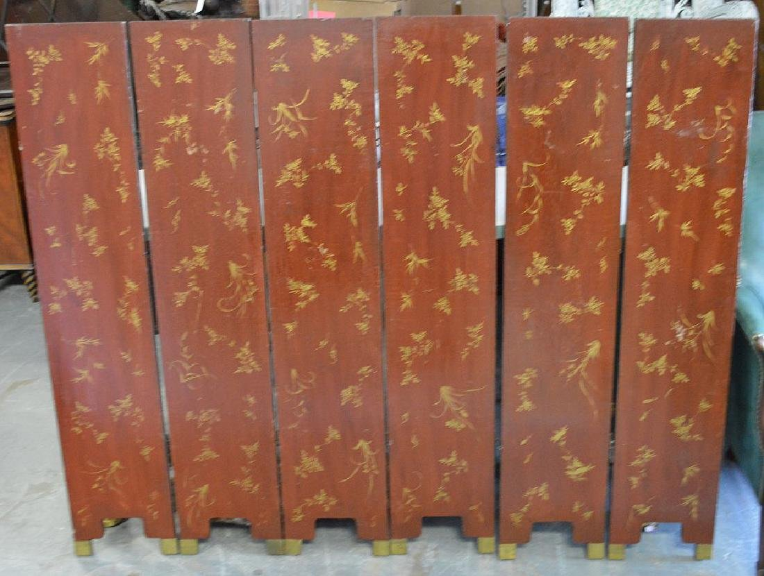6 panel screen, coromandel style, red lacquer on - 8