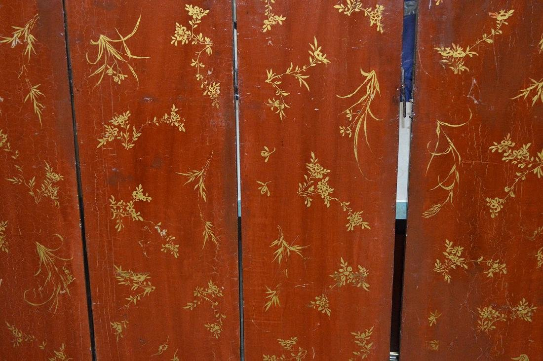 6 panel screen, coromandel style, red lacquer on - 9