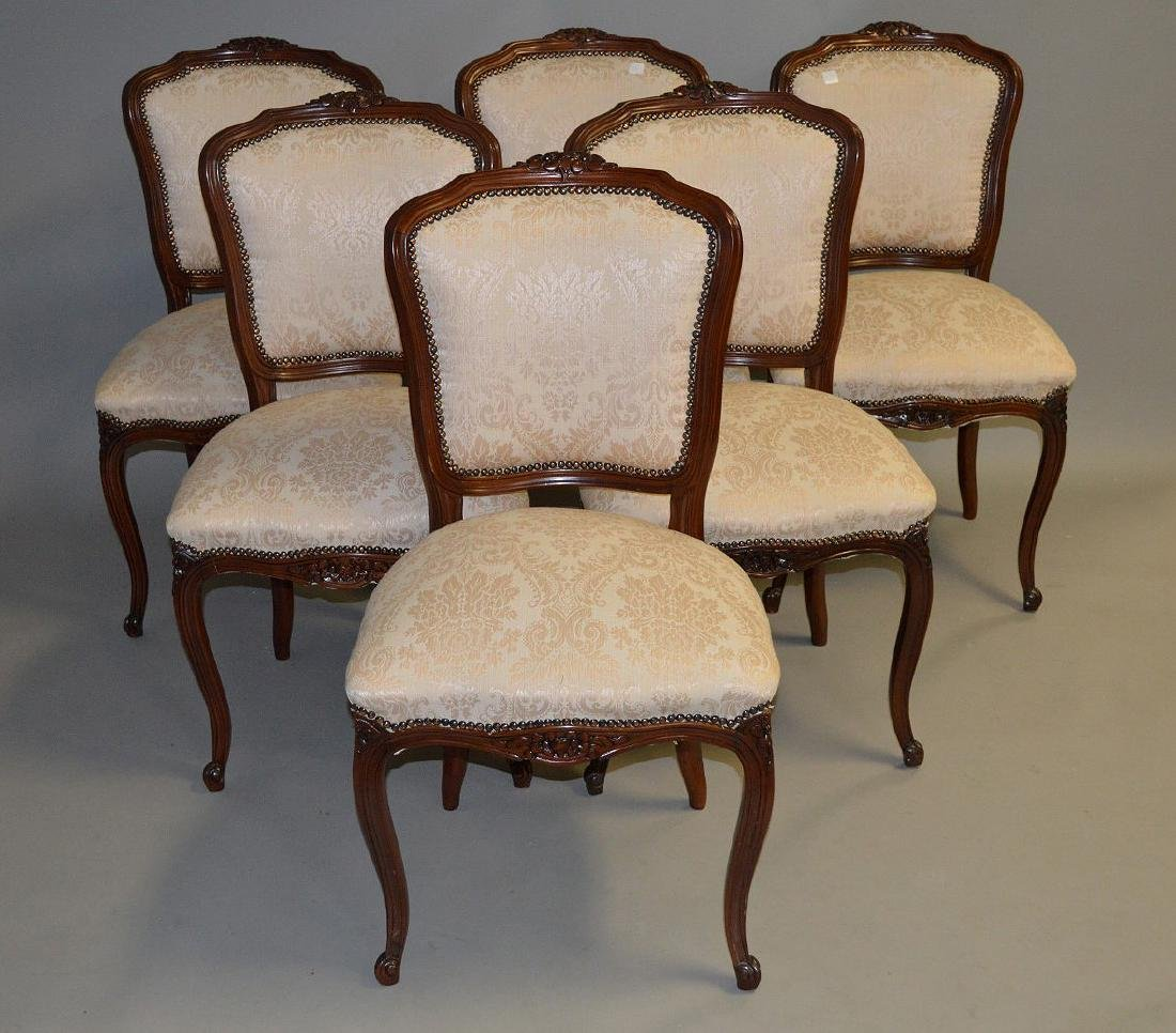 6 side chairs, French style carved frame with brass