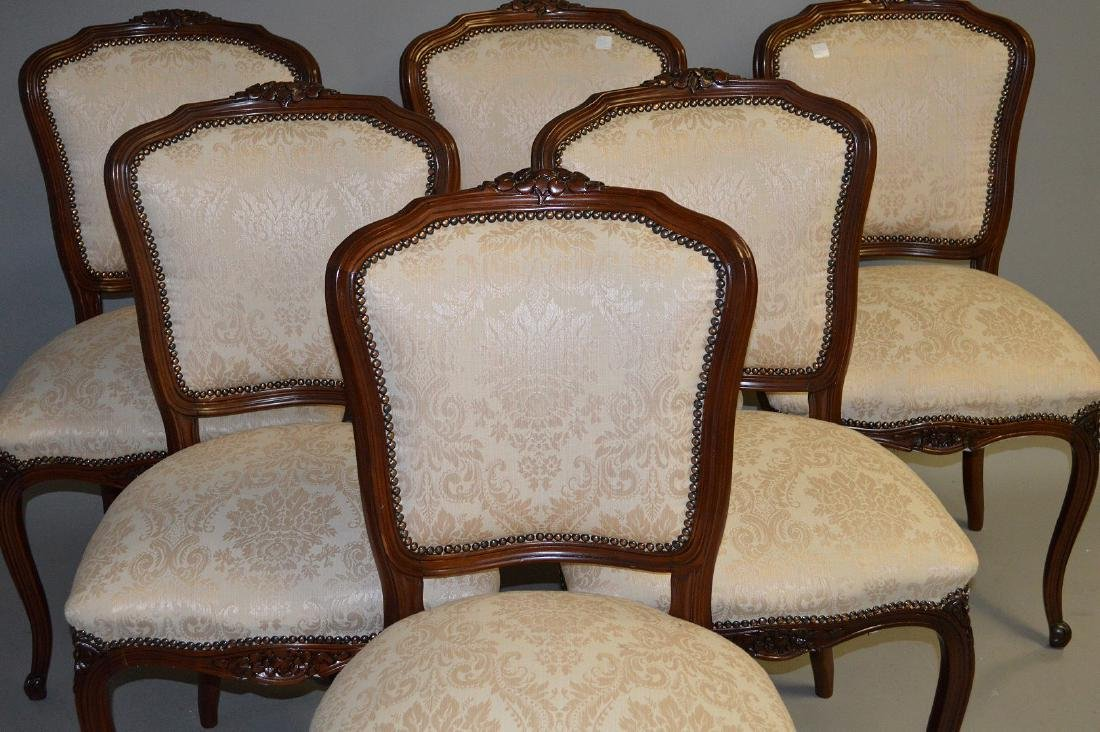 6 side chairs, French style carved frame with brass - 2
