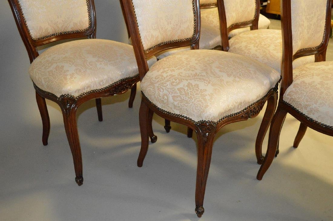 6 side chairs, French style carved frame with brass - 3