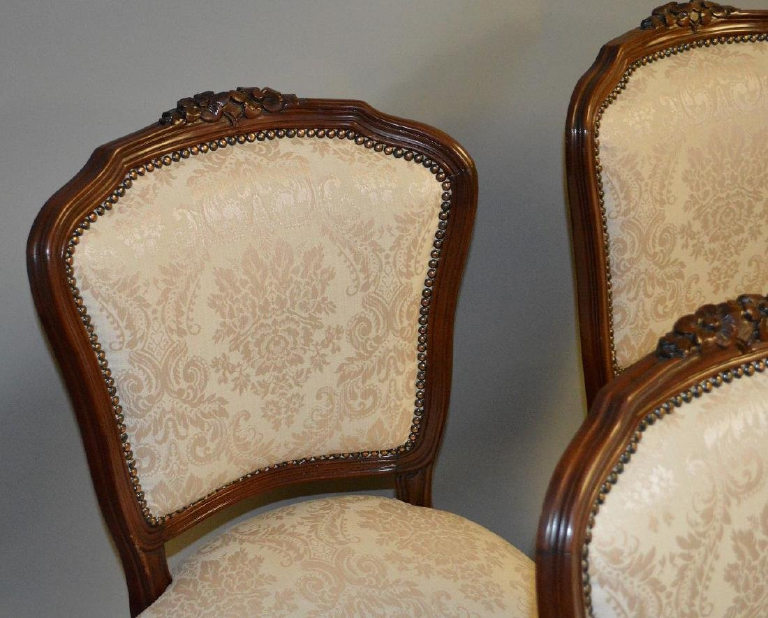 6 side chairs, French style carved frame with brass - 4