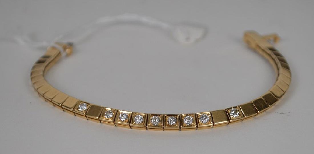 Custom made 14KT YG diamond bracelet. Comprised of 9