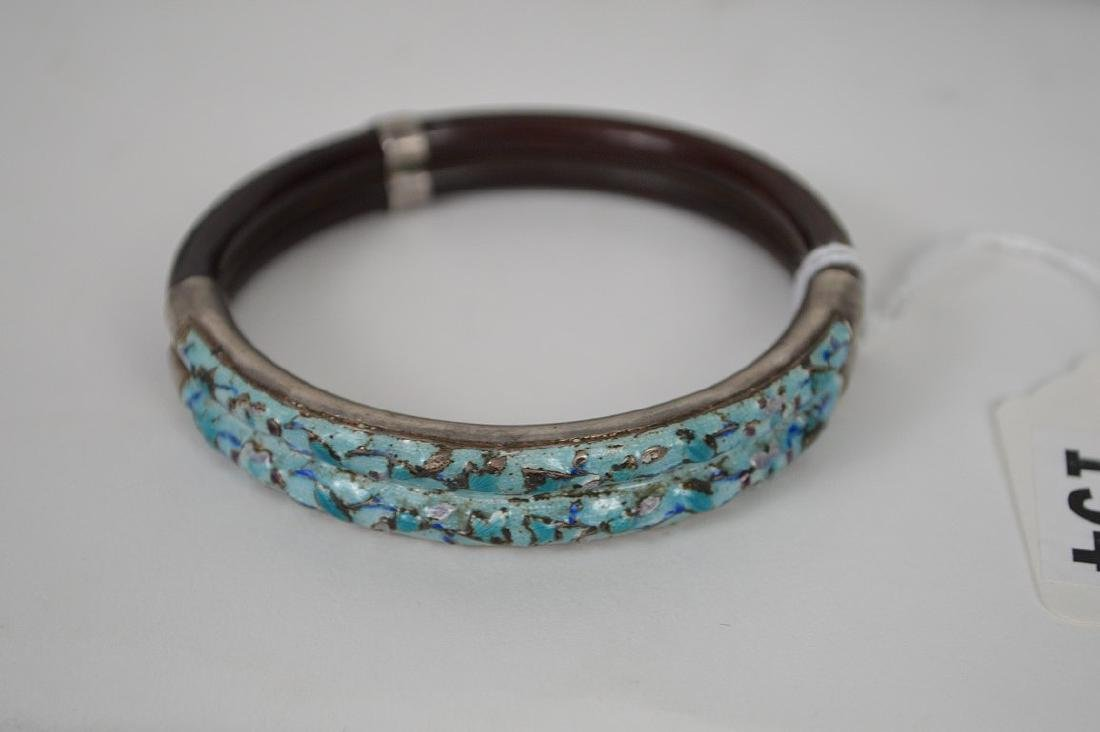 Antique Chinese silver & Bamboo bangle bracelet with