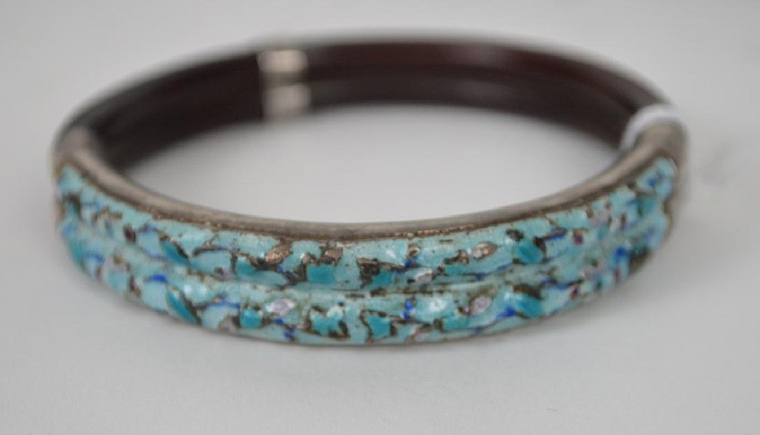 Antique Chinese silver & Bamboo bangle bracelet with - 2