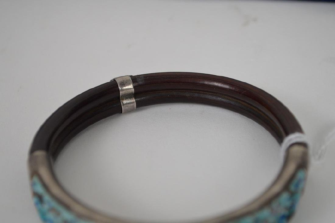 Antique Chinese silver & Bamboo bangle bracelet with - 3