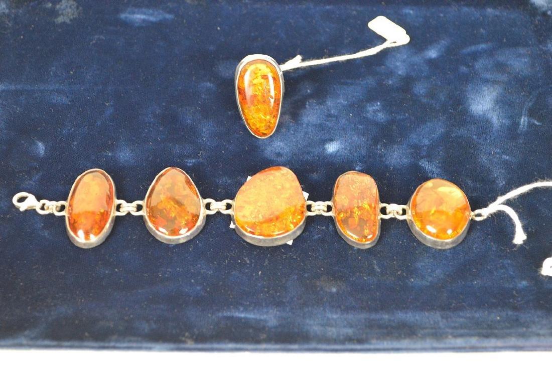 Large vintage amber sterling silver bracelet with - 10