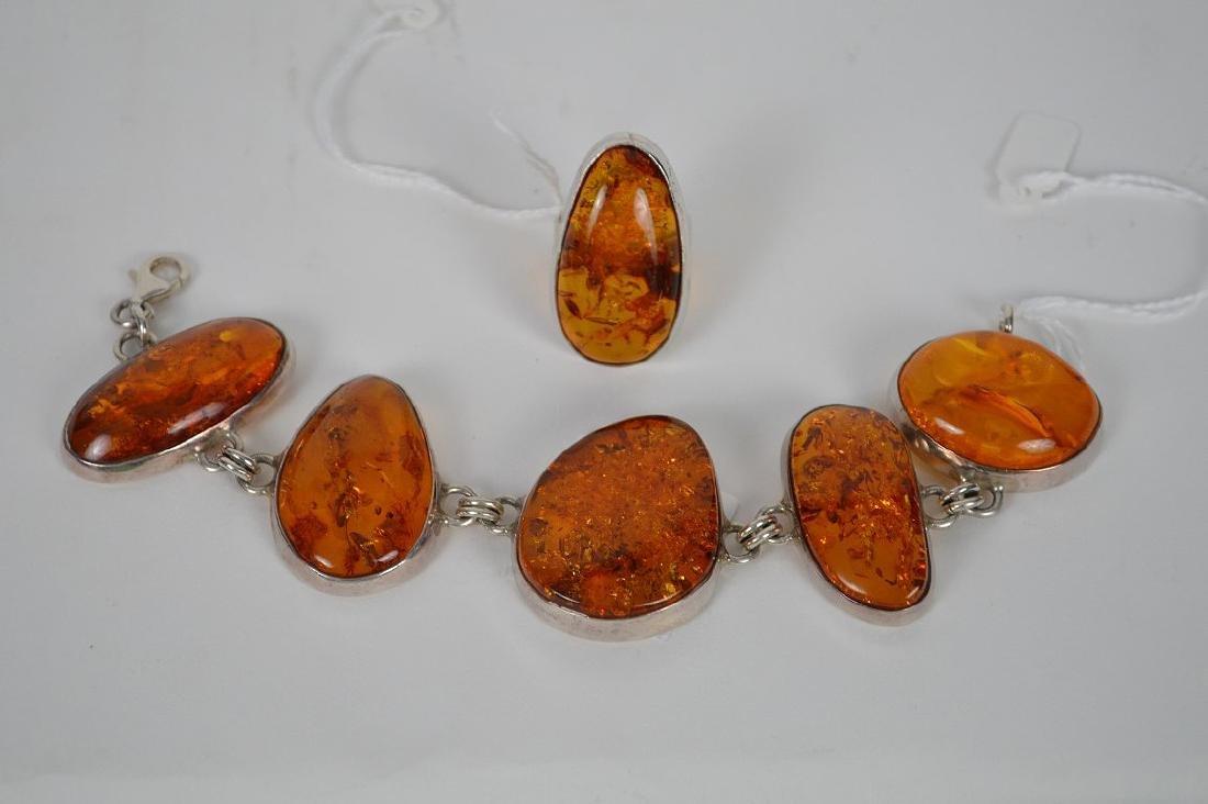 Large vintage amber sterling silver bracelet with