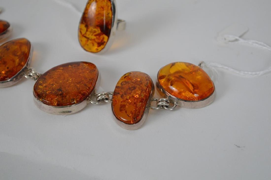 Large vintage amber sterling silver bracelet with - 2
