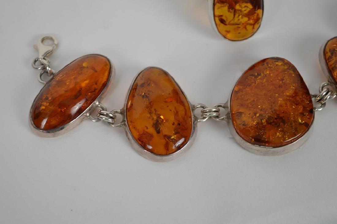 Large vintage amber sterling silver bracelet with - 4