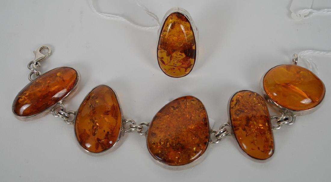 Large vintage amber sterling silver bracelet with - 5