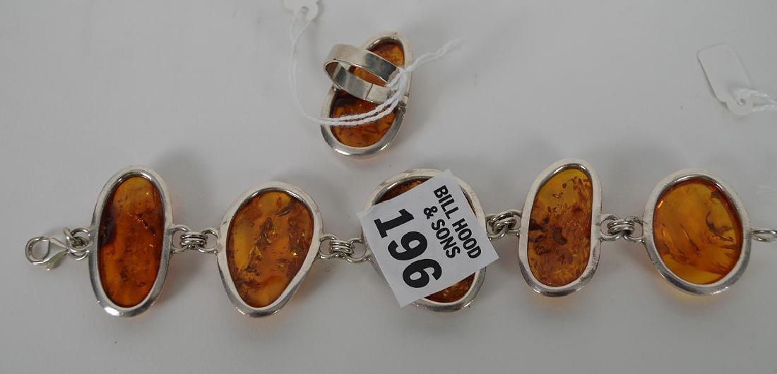 Large vintage amber sterling silver bracelet with - 6