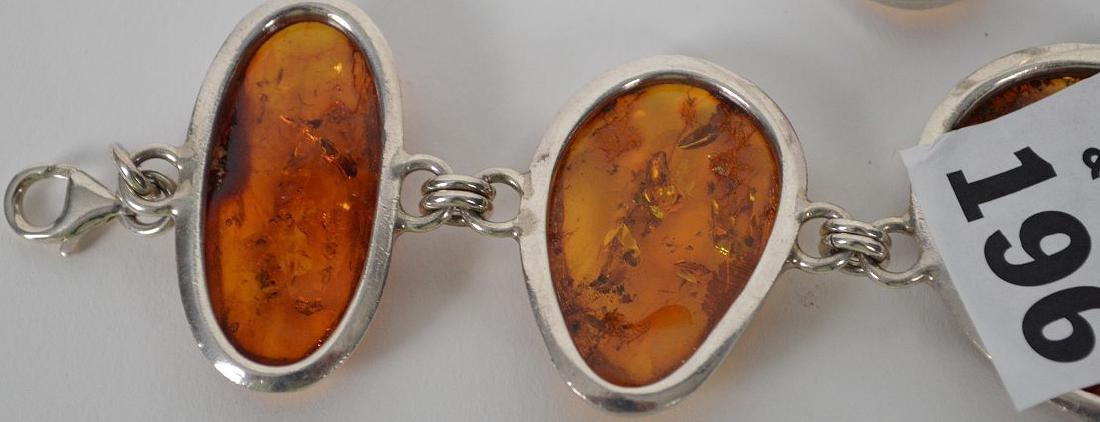 Large vintage amber sterling silver bracelet with - 7