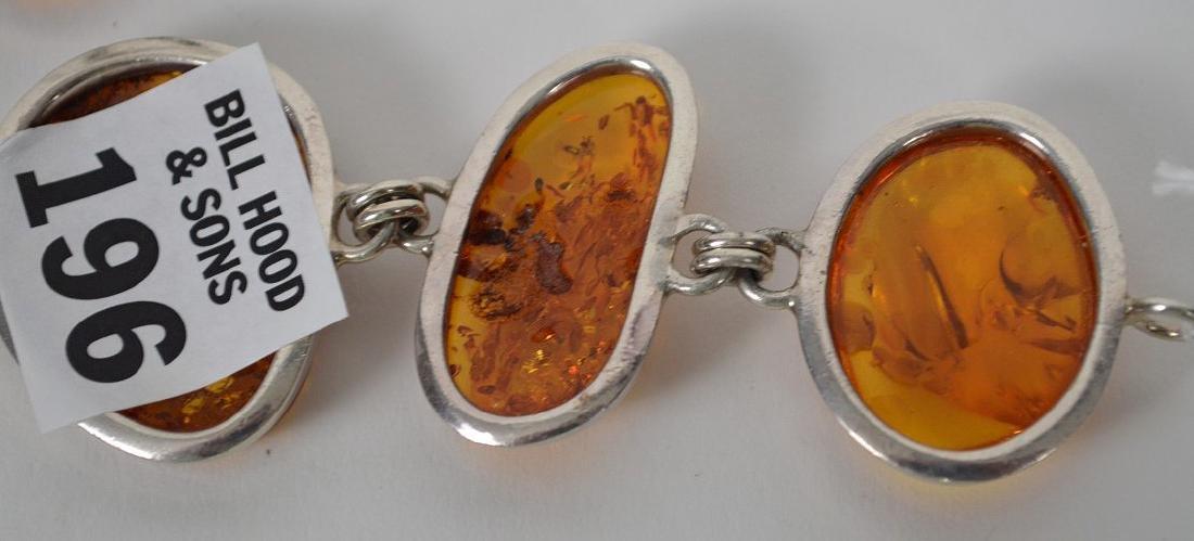 Large vintage amber sterling silver bracelet with - 8