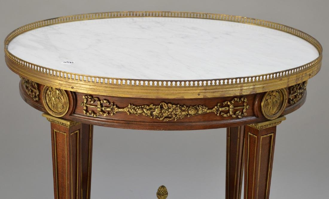 Pair Round French tables with gilt metal accents and - 10