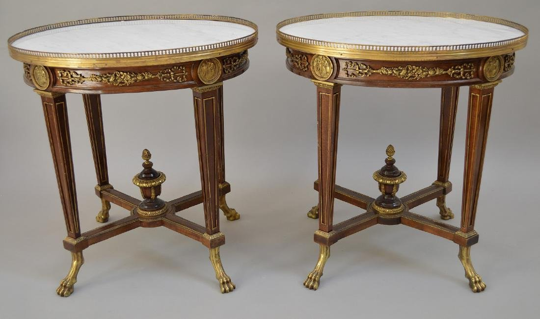 Pair Round French tables with gilt metal accents and