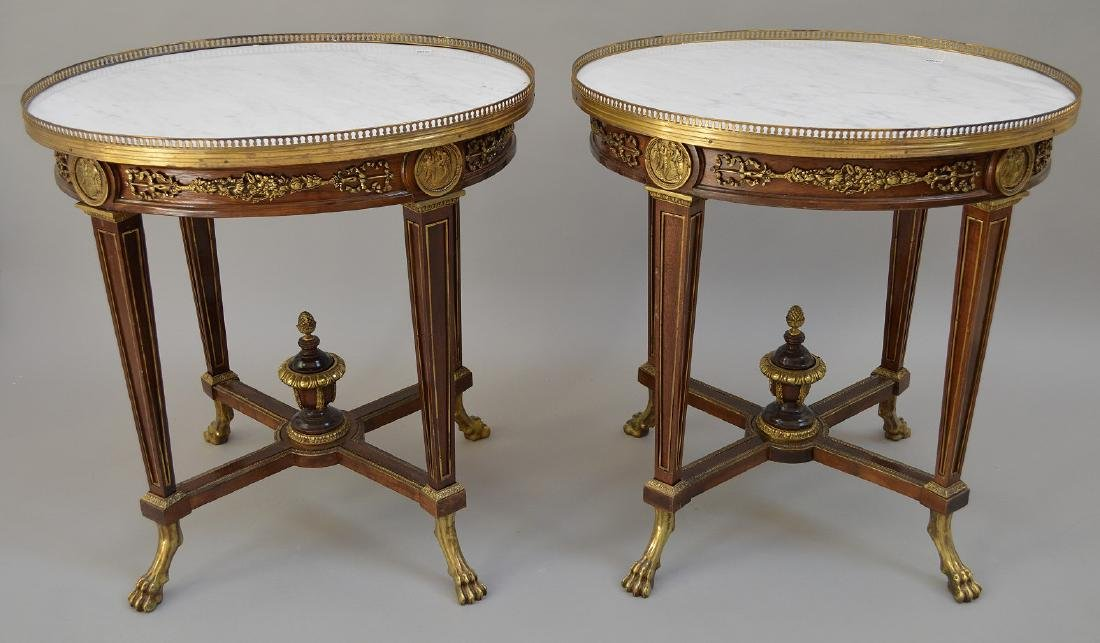 Pair Round French tables with gilt metal accents and - 2