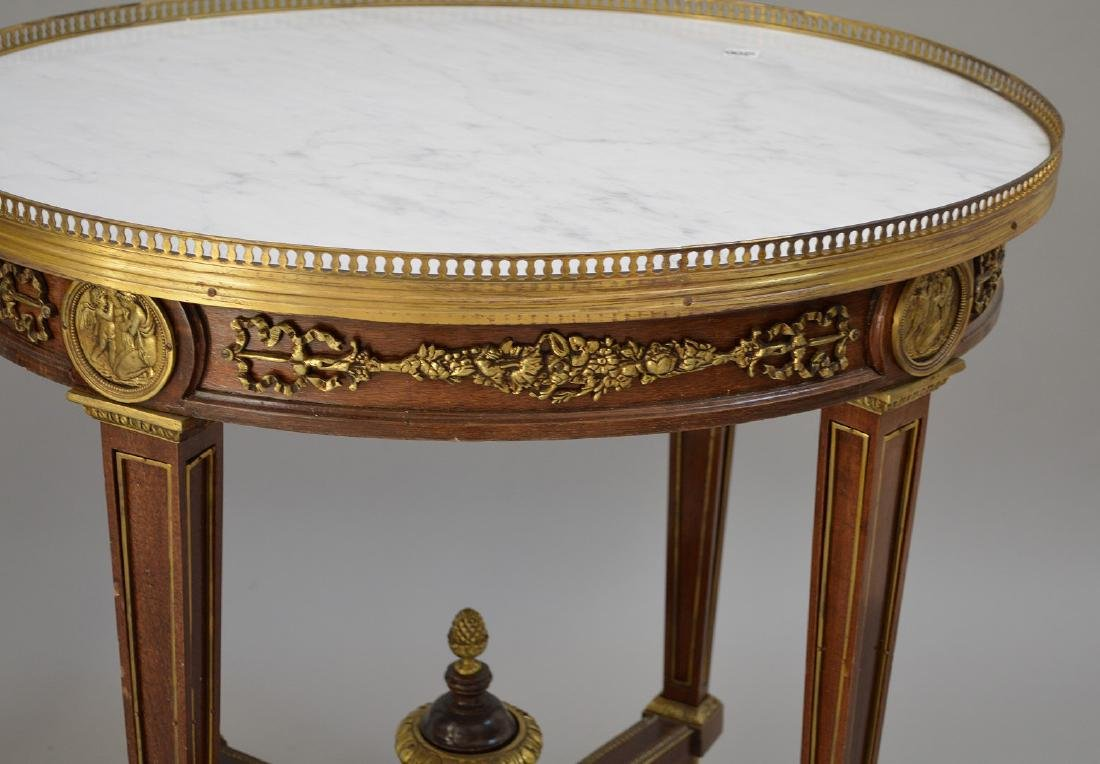 Pair Round French tables with gilt metal accents and - 3