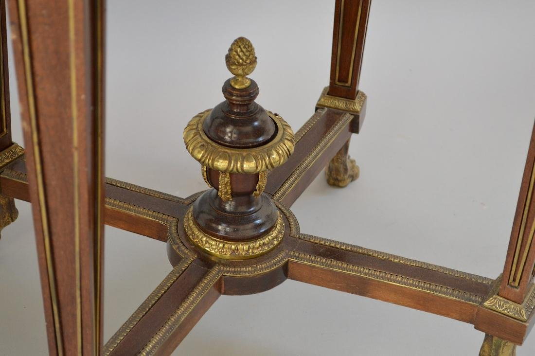 Pair Round French tables with gilt metal accents and - 5