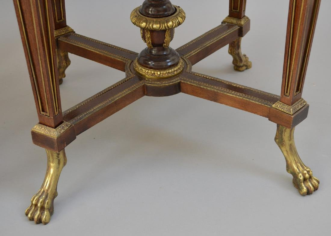 Pair Round French tables with gilt metal accents and - 6