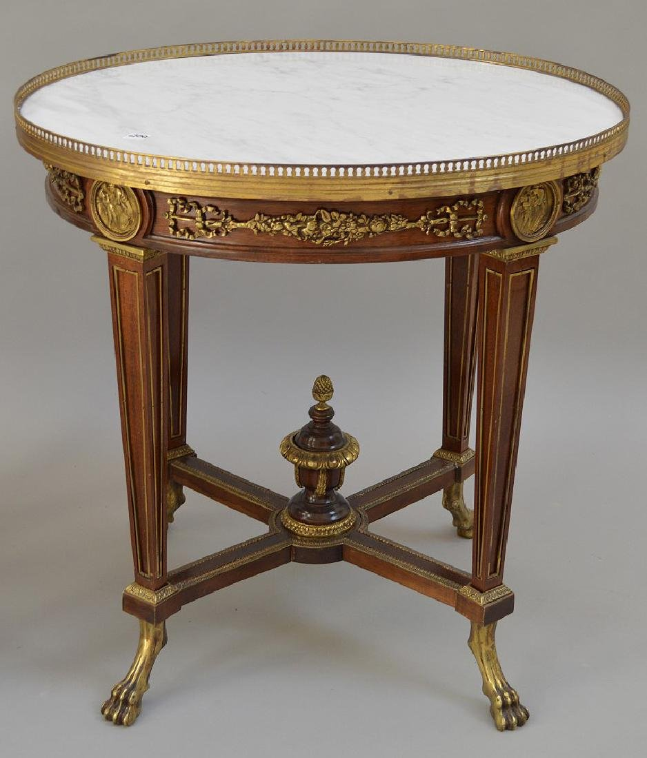 Pair Round French tables with gilt metal accents and - 9