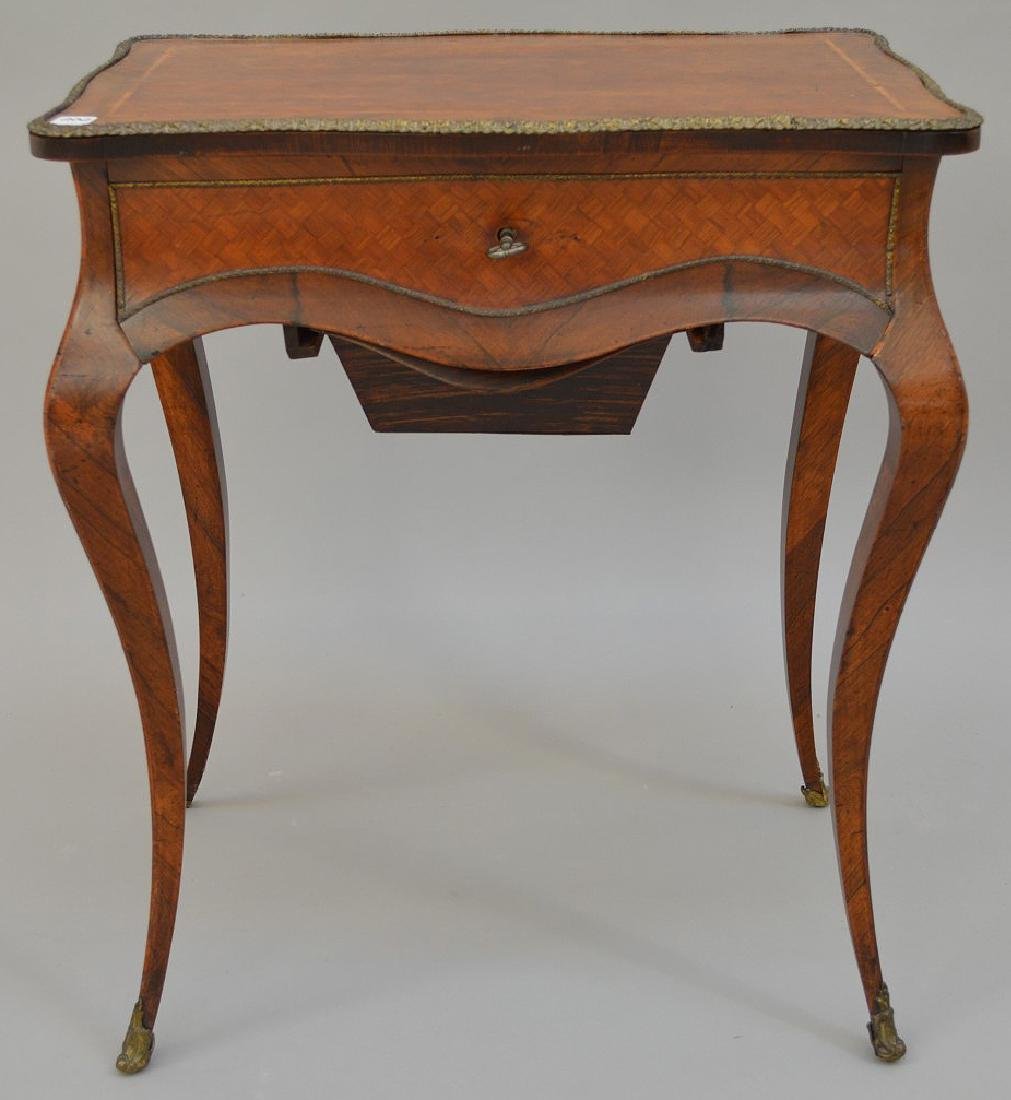 "French parquetry ladies dressing table, 28 1/2""h x 24""w"
