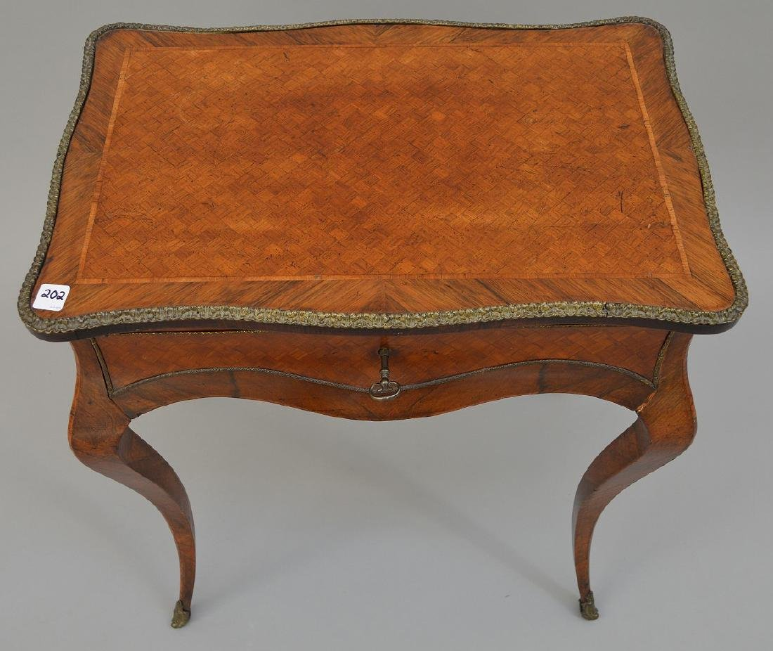 "French parquetry ladies dressing table, 28 1/2""h x 24""w - 3"