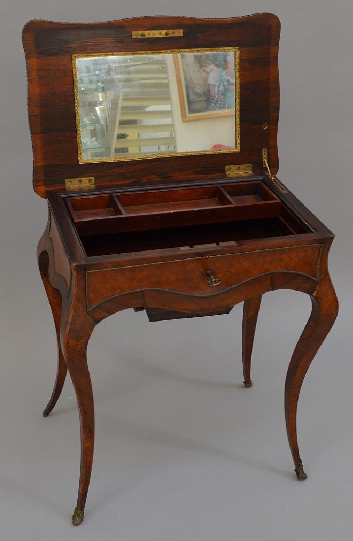 "French parquetry ladies dressing table, 28 1/2""h x 24""w - 5"