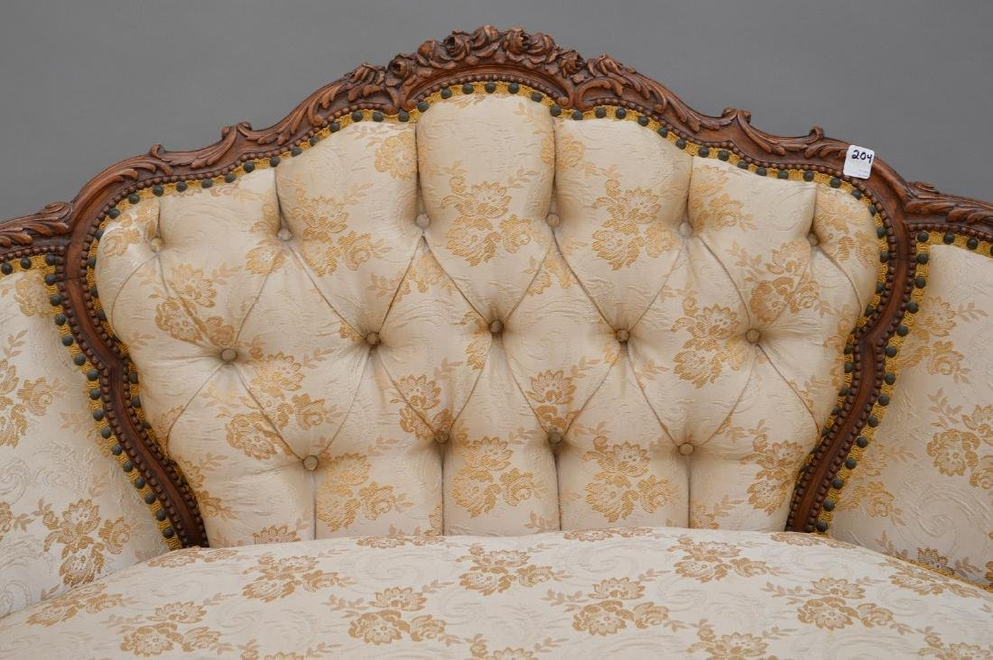 """French carved walnut framed settee, 37""""h x 51""""w x 30""""d - 2"""