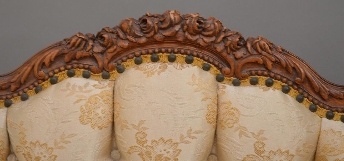 """French carved walnut framed settee, 37""""h x 51""""w x 30""""d - 3"""