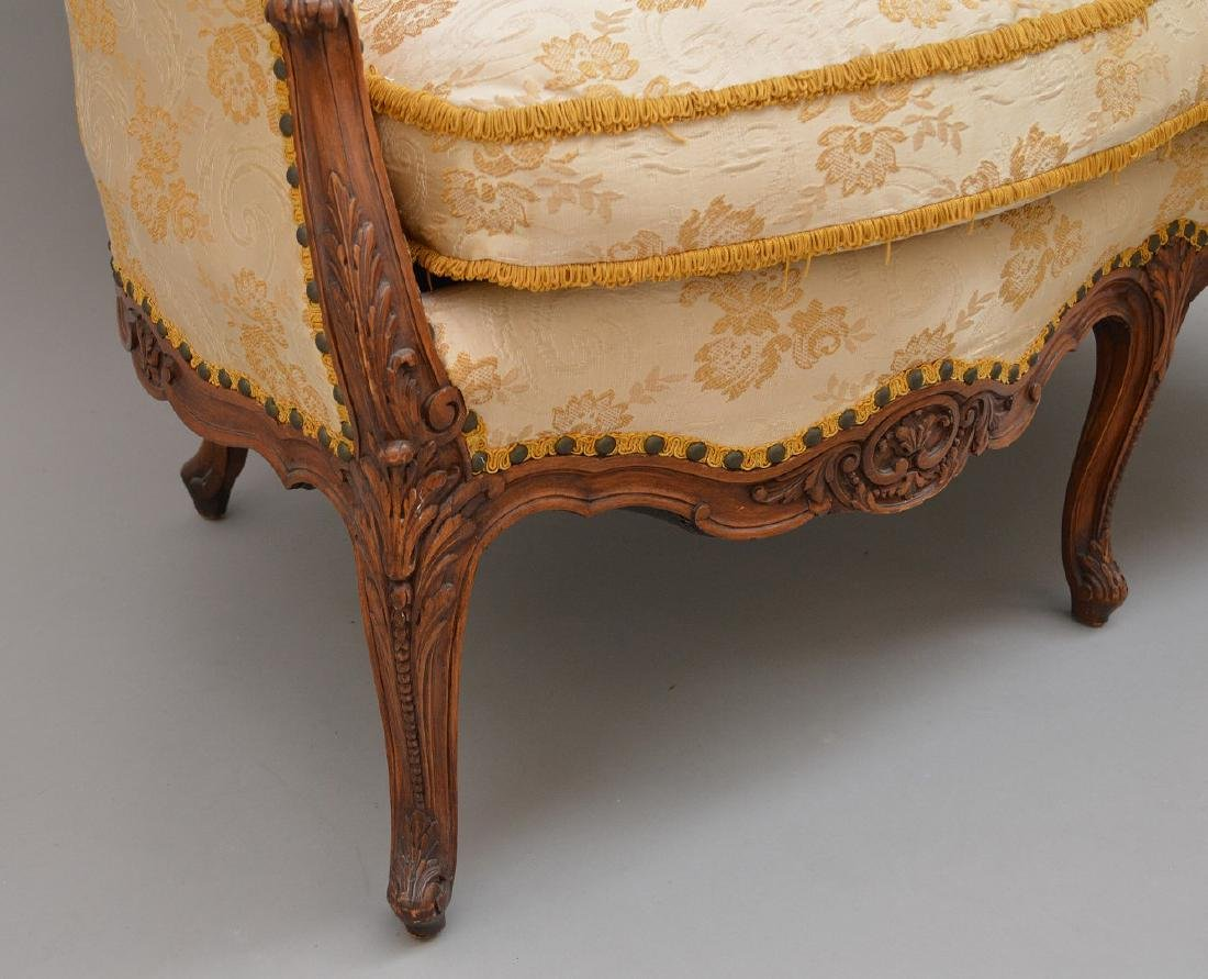 """French carved walnut framed settee, 37""""h x 51""""w x 30""""d - 4"""