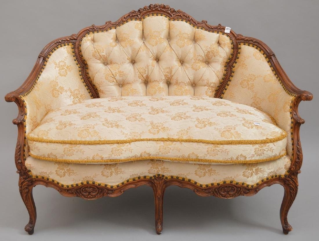 """French carved walnut framed settee, 37""""h x 51""""w x 30""""d - 5"""