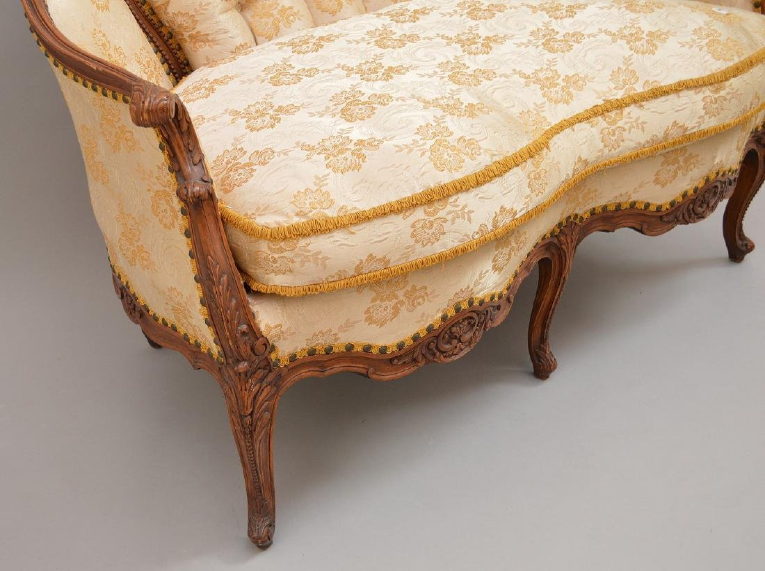 """French carved walnut framed settee, 37""""h x 51""""w x 30""""d - 7"""