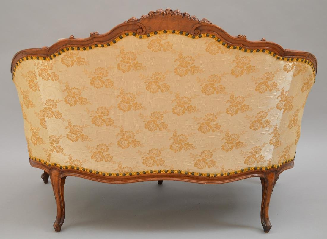 """French carved walnut framed settee, 37""""h x 51""""w x 30""""d - 8"""
