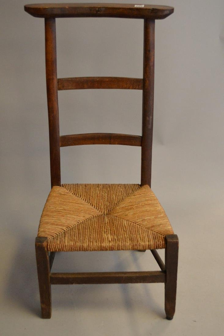 "Antique prayer chair, wood frame with rush seat, 34""h x"